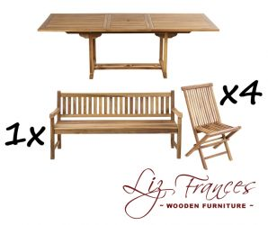 8 Seater Rectangular Extendable 'Pembroke' Set with Bench by Liz Frances