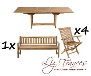 8 Seater Rectangular Extendable 'Lakeland' Teak Set with Bench by Liz Frances