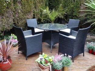 Stenger 4 Seater Rattan Dining Set with Round Table