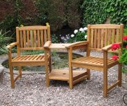 Kent Hardwood Companion/Love Seat with Parasol Hole - 1.8m