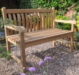 Java 1.2m (3ft 11¼in) Curved Back Teak Bench by Liz Frances™