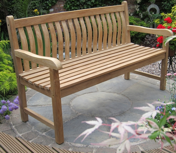 Java 1.5m (4ft 11in) Curved Back Teak Bench by Liz Frances™