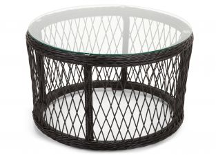 Cuba Rattan Glass Topped Side Table - Black