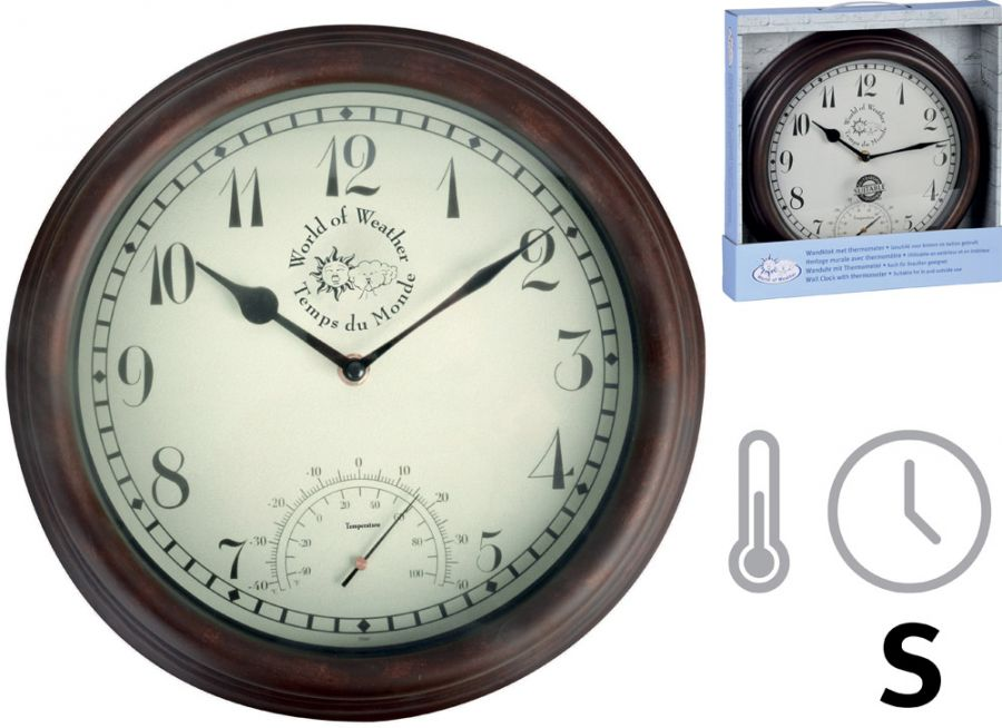 Outdoor Wall Clock With Thermometer - 30.5cm
