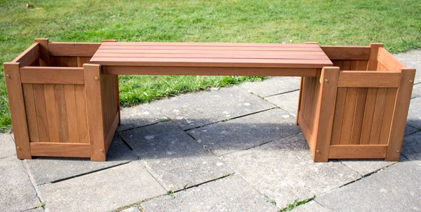 1.7m Hardwood Guildford 2 Seater Planter Box Garden Bench by Liz Frances™