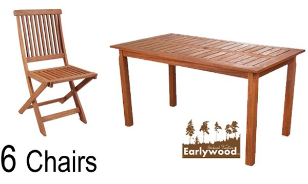 Earlywood 6 Seater Ilford and Kendle Hardwood Garden Dining Set