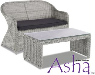 Grey 2 Seater Garden Sofa and Coffee Table Set - Asha™