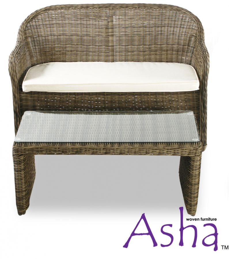 Brown 2 Seater Garden Sofa and Coffee Table Set - Asha™