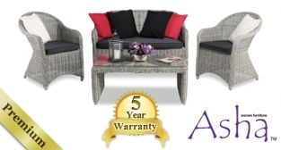 "4 Seater Rattan Garden Sofa Set - Asha™ ""Chester"" in Grey with Cushions"