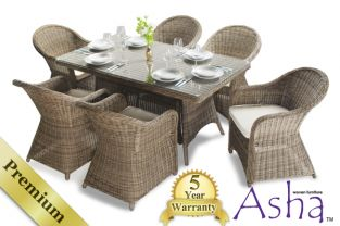 "6 Seater Rattan Garden Furniture Set - Asha™ ""Purley"" with Cushions"