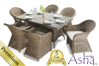 6 seater rattan garden furniture set asha purley with
