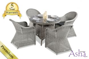 "4 Seater Rattan Garden Furniture Set - Asha™ ""Weymouth"" in Grey with Cushions"