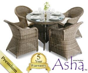 "4 Seater Rattan Garden Furniture Set - Asha™ ""Weymouth"" with Cushions"