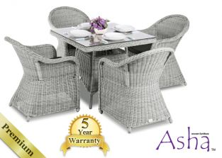 "4 Seater Rattan Garden Furniture Set - Asha™ ""Sonning"" in Grey with Cushions"