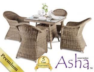 "4 Seater Rattan Garden Furniture Set - Asha™ ""Sonning"" with Cushions"