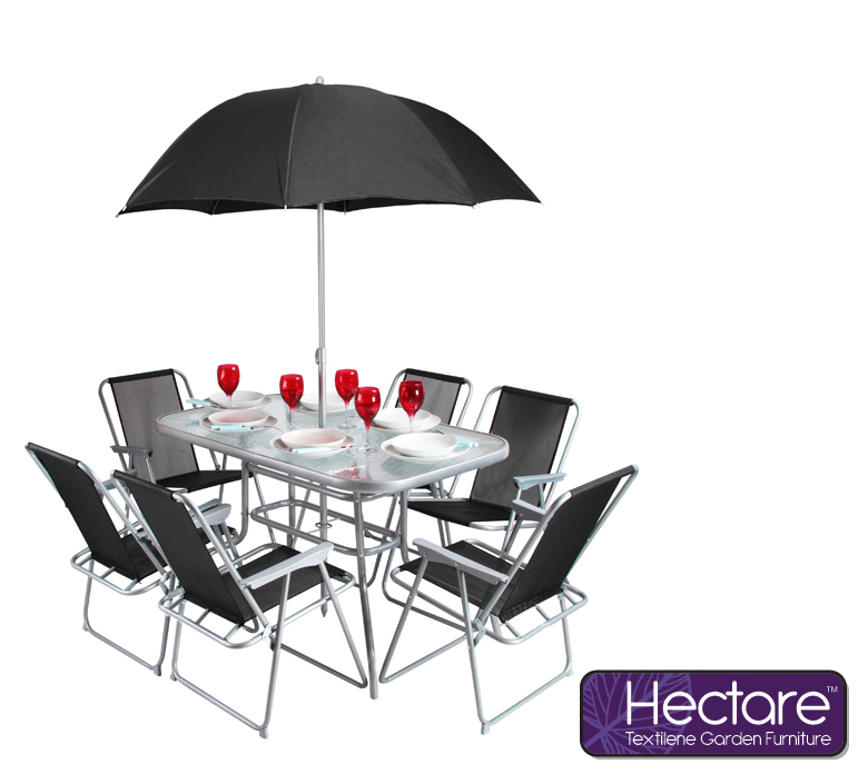 Hectare™ Mallory 6 Seater SuperPolyTex Garden Furniture with Parasol