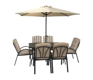 Hadleigh 6 Seater Garden Dining Furniture Set In Beige By Hectare®