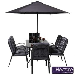 Hadleigh 6 Seater Garden Dining Furniture Set In Grey By Hectare™