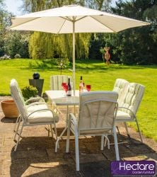 Hadleigh 6 Seater Garden Dining Furniture Set in Cream - by Hectare™