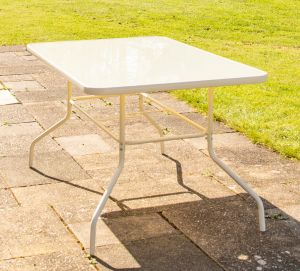 Hadleigh Rectangular Glass Topped Dining Table In White By Hectare™