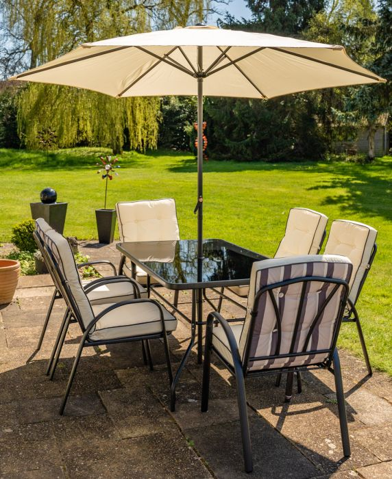 Hadleigh 6 Seater Garden Dining Furniture Set In Black By Hectare 163 449 99