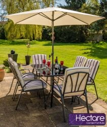 Hadleigh 6 Seater Garden Dining Furniture Set In Black By Hectare™