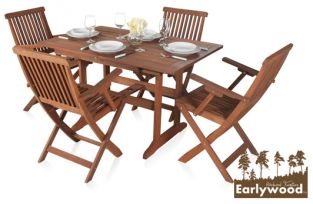 Earlywood™ Ilford 4 Seater Armchair Extendable Hardwood Garden Furniture Set