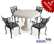 Alium� Lincoln Stone Table 4 Seater Round Garden Furniture Set