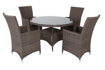 Amber Four Seat Round Dining Set