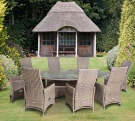 Amber Eight Seat Oval  Dining Set