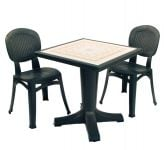 Anthracite Giove 70 Ravenna With 02 Anct Elba Wicker Chairs