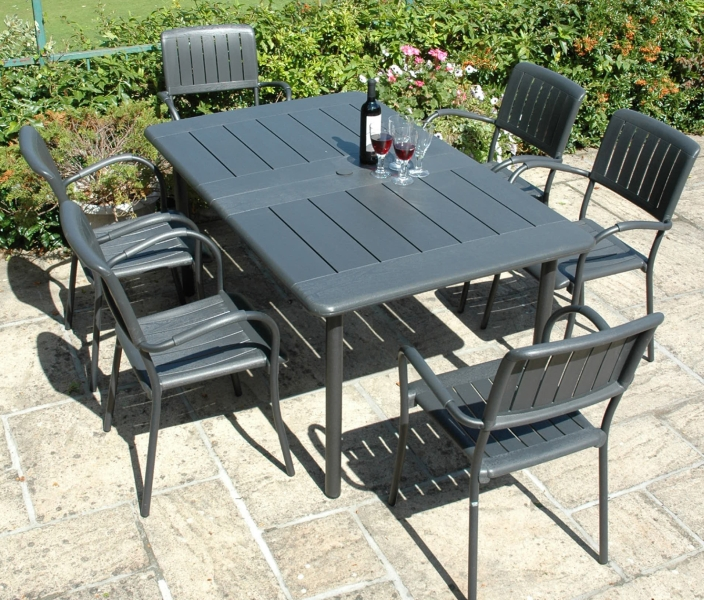 Anthracite Maestrale 220 Standard With 06 Anct Musa Chairs