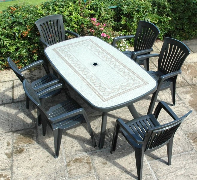 Anthracite Toscana 165 Ravenna With 06 Anct Diana Chairs