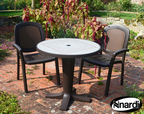 Coffee Marte 78 Ravenna With 02 Coffee Creta Wicker Chairs
