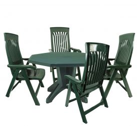 Green Olimpo Plain With 04 Green Flora Chairs