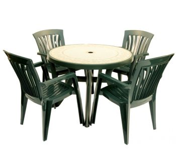 Green Toscana 100 Ravenna With 04 Green Diana Chairs