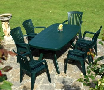 Green Toscana 165 Plain With 06 Green Diana Chairs