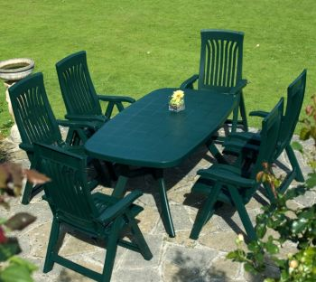 Green Toscana 165 Plain With 06 Green Flora Chairs