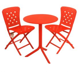 Red Step Standard With 02 Red Zac Chairs