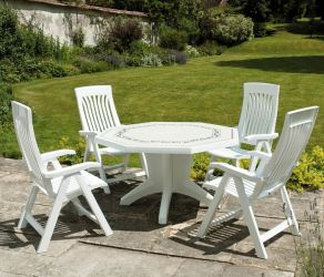 White Olimpo Provenza With 04 White Flora Chairs