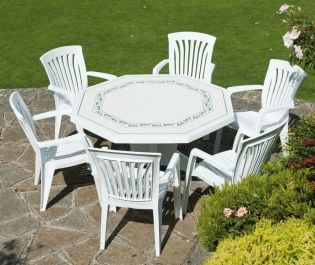 White Olimpo Provenza With 06 White Diana Chairs