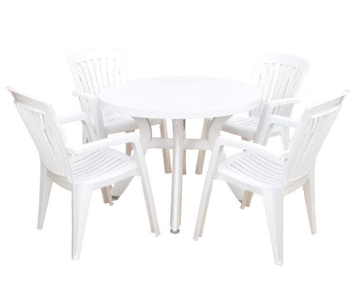 White Toscana 100 Plain With 04 White Diana Chairs