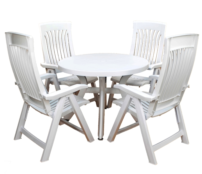 White Toscana 100 Plain With 04 White Flora Chairs