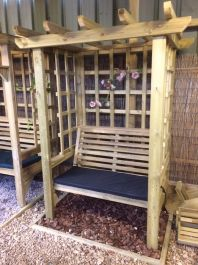 Wooden Two Seater Trellis Arbour