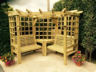 Wooden Clementine Corner Arbour with Trellis Sides 2.10m