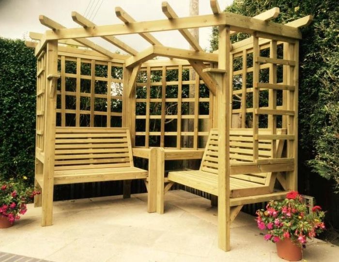 Wooden Clementine Corner Arbour With Trellis Sides 2 10m 163 649 99