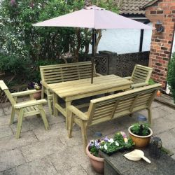 3.6m Churnet 8 Seater Bench and Chair Set