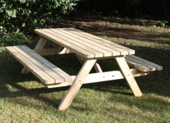 Parks Heavy Wooden Picnic Garden Table 1.8m