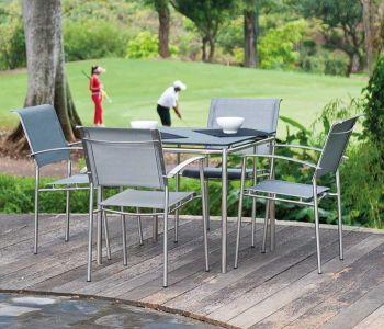 Avant Classic Slate Table and Synthetic  Chairs Set