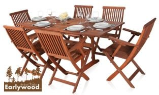 Earlywood™ Ilford 6 Seater Armchair Extendable Hardwood Garden Furniture Set